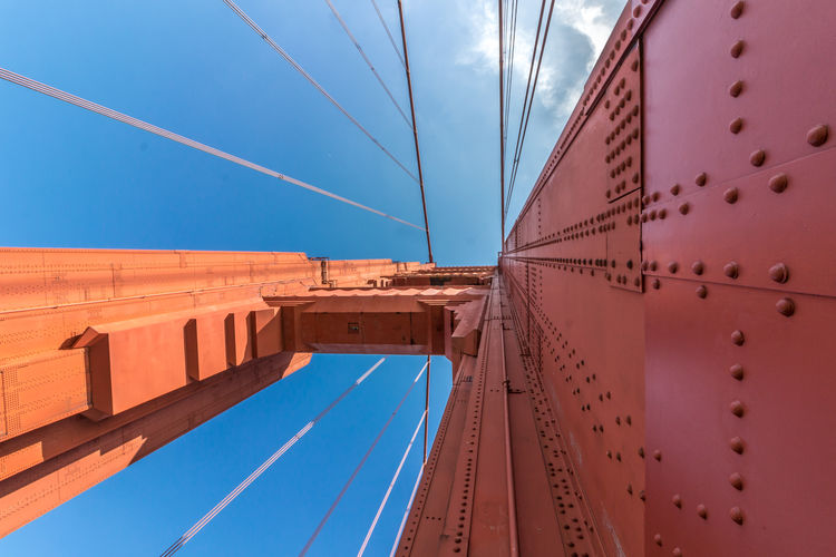 America American Architecture Attraction Below View Blue Bridge Cable California City Close Detail Famous Francisco Gate Golden Landmark Red San Sidewalk Sky Suspension Tourism Travel Up USA View Walking