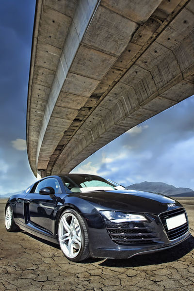 Audi Automobile Black Car Blue Bridge Cloud - Sky Day Mode Of Transport No People Outdoors Parked Parking Part Of Sky Sports Car Stationary Structure Sunny Transportation Wheel