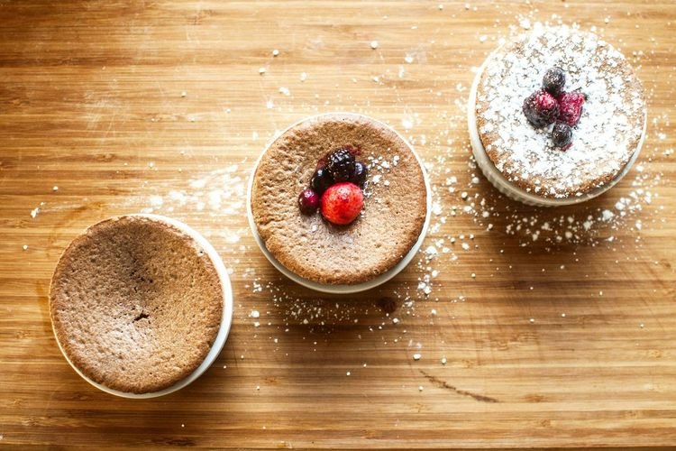 Directly Above View Of Fresh Souffles Served In Plate On Table