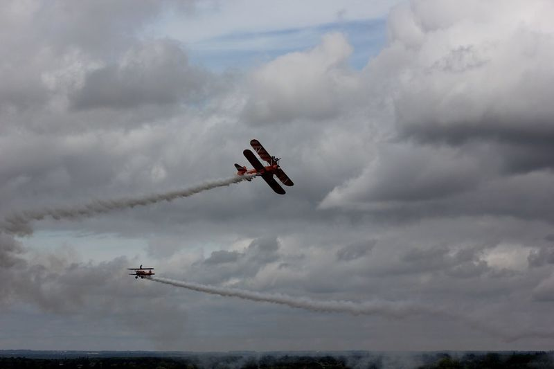 Brietling Wing-Walkers Display Team Adventure Sky Aeroplane Propeller Aircraft BRIETLING TEAM Airshow Fuel And Power Generation Extreme Sports Exhilaration Flying Airplane Ascot Motion Pilot Mid-air Brietling