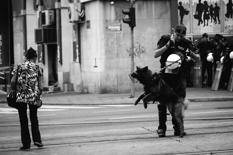 Fear of the dog Adult Adults Only Day Dog Fear K9 Men Outdoors People Police Real People Riot Street The Photojournalist - 2017 EyeEm Awards Two People Walking Women The Street Photographer - 2017 EyeEm Awards The Photojournalist - 2018 EyeEm Awards