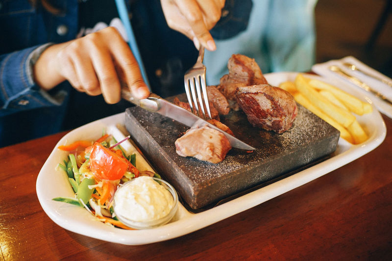 Lamb Steak Food Food And Drink Midsection Freshness Ready-to-eat One Person Meat Table Fork Healthy Eating Kitchen Utensil Indoors  Plate Human Hand Eating Utensil Knife Meal Close-up Human Body Part Hand Table Knife Breakfast Fried Egg