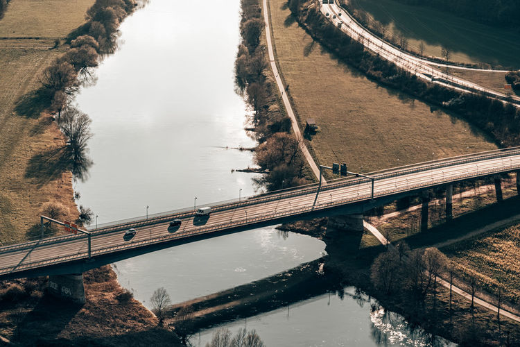 High angle view of bridge over river