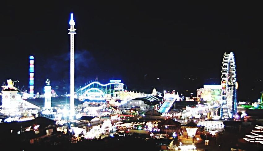Night Oktoberfest 2017 Arts Culture And Entertainment Illuminated Large Group Of People Amusement Park Amusement Park Ride Nightlife Outdoors