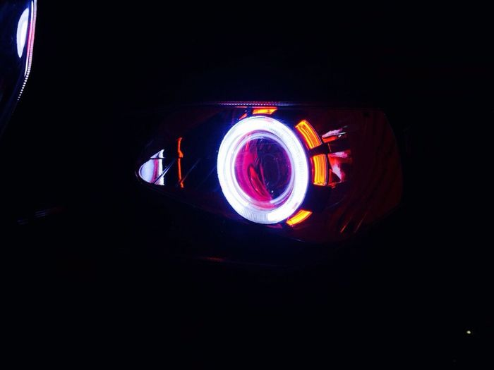 Bike Headlights Devil Look Projector Double Ring Devil Look Alike Human Eyes White Red Ring