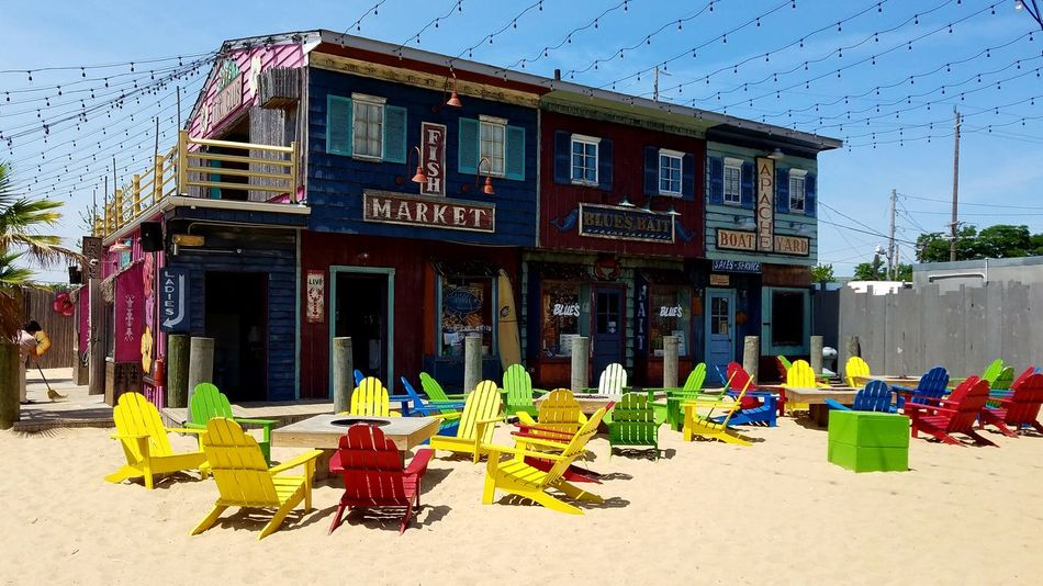 Pops Island Park Long Island Bar Colorsplash Multi Colored Outdoors Beach Building Exterior Adirondack Chairs No People Sandy Paint The Town Yellow Summer Exploratorium