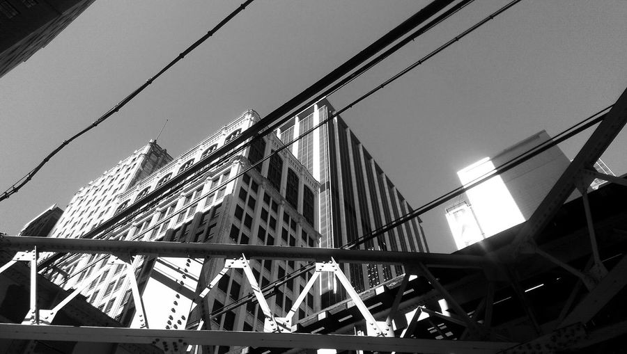 Black And White Photography Street Photography Black And White Blanco Y Negro Downtown Chicago Highrises High Rise Building Looking Up Simetry Urban Geometry Urban Landscape Elevated Track