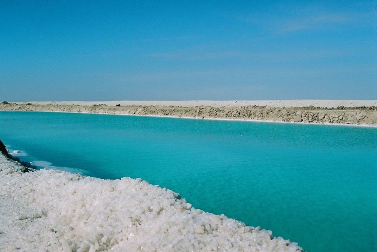Film Beach Beauty In Nature Blue Clear Sky Copy Space Day Film Photography Idyllic Land Nature No People Outdoors Salt Flat Scenics - Nature Sea Sky Swimming Pool Tranquil Scene Tranquility Turquoise Colored Water Waterfront