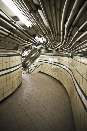 Interior of empty subway