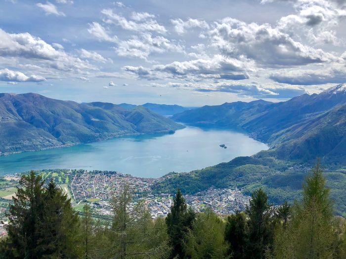 Ticino Love Brissago Islands Panoramic View Locarno, Switzerland Lago Maggiore Water Beauty In Nature Scenics - Nature Sky Tranquil Scene Tranquility Cloud - Sky Idyllic Outdoors Day Mountain