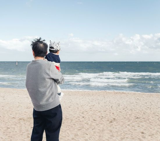 from when I was back down under @St Kilda Beach Beach Beach Photography Sea Sea And Sky Sand Father And Child Family Love Back View Australia St Kilda Beach Melbourne Clean Minimal The Street Photographer - 2017 EyeEm Awards