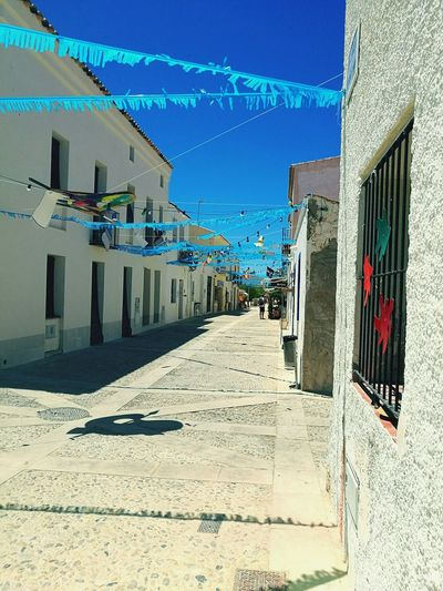 Spanish festival decorations SPAIN sun Building Exterior Sky Blue Summer No People Outdoors