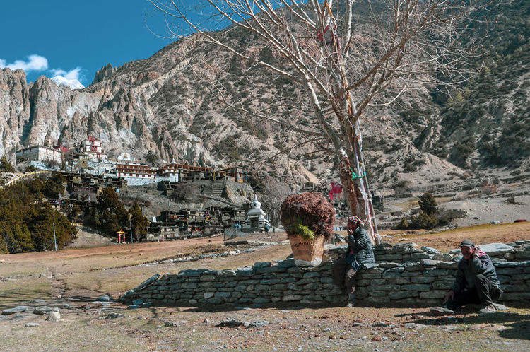 Nepal Travel Travel Destinations Annapurna Conservation Area Rural Scene Rural Farmer Temple Village Tree Mountain Men Sky Hiker Visiting Rock Formation Farmland