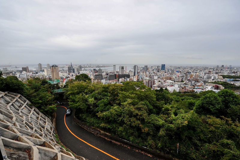 Building Exterior Architecture Built Structure City Sky Building Cloud - Sky Tree Plant Cityscape Nature High Angle View Residential District Day No People Outdoors Japan Photography Kobe