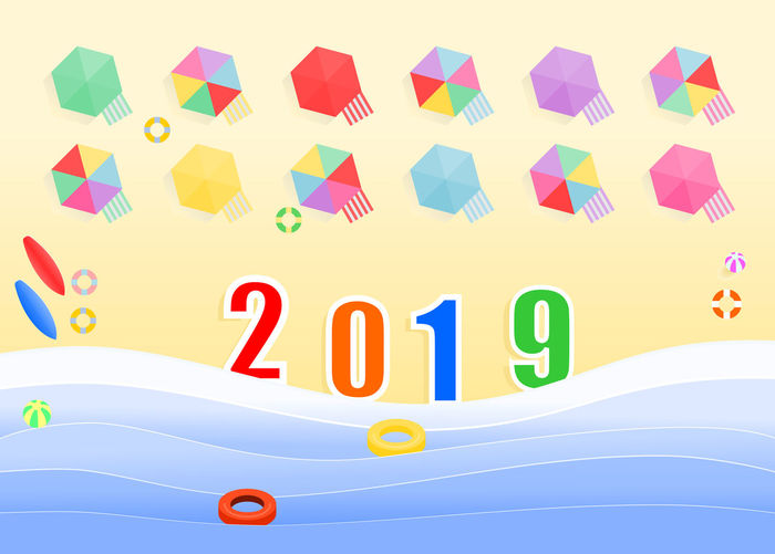 Top view of the 2019 numbers in the beach with swimmers equipment ,cribs and sunshades for tourists, illustration design for holiday and new year. 2018 2019 Sea Sand Beach Traveling Ring Swimming Swim Rings Wave Ocean Top View Colorful Holiday Relaxing Umbrella Wave Board Inflatable  Crib Sunshade Beach Mat Graphic Design New Year Multi Colored Concept
