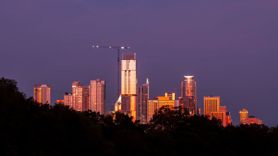 Austin, Texas Downtown Skyline at Night seen from behind trees Architecture City Building Skyscraper Sky Landscape Illuminated Tree Cityscape Urban Skyline Plant Modern Tall - High Tower Night Outdoors Financial District  Building Exterior Austin Texas Sunset Purple Glass - Material Evening