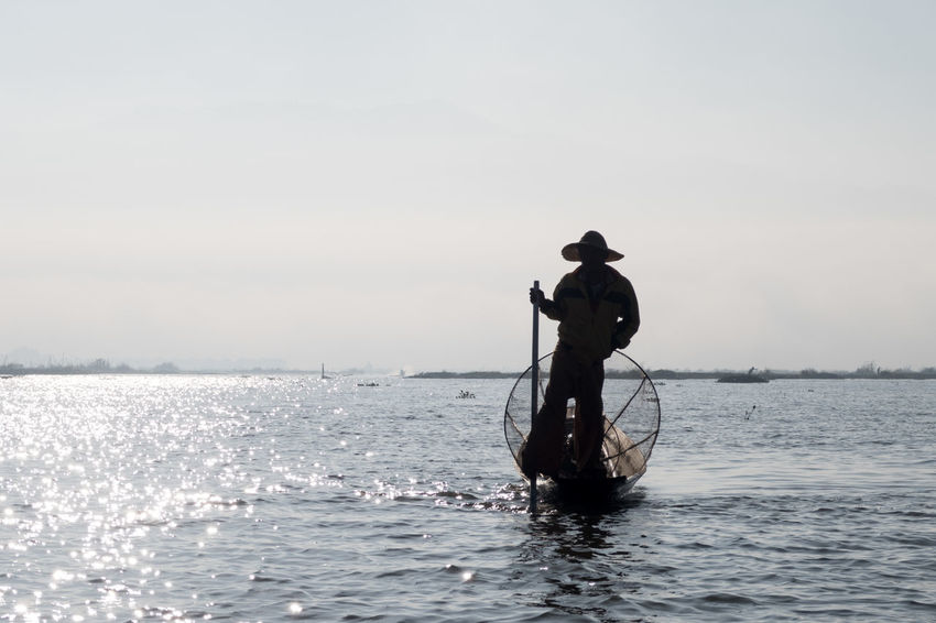 Adults Only Burma Day Fisherman Fishing Fishing Boat Fishing Tools Inle Lake Myanmar Nature Net One Person Outdoors People Sea Silhouette Sky Tradition Water Black And White Friday