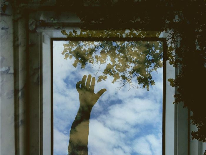Reflection of hand on glass window