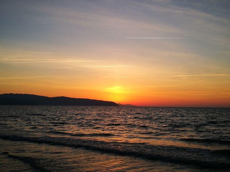 Sunset Sea Scenics Beach Water Nature Tranquility Horizon Over Water Tranquil Scene