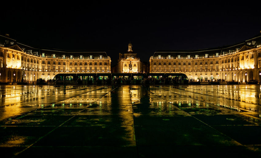 Place de la Bourse in Bordeaux, France. Architecture Bordeaux City France Gold Golden Historical Building Night Photography Nightphotography Reflection Transportation Travel Travel Photography Fujifilm Fujifilm_xseries Historic History Illuminated Night Old Buildings Street Street Photography Streetphotography Train Water