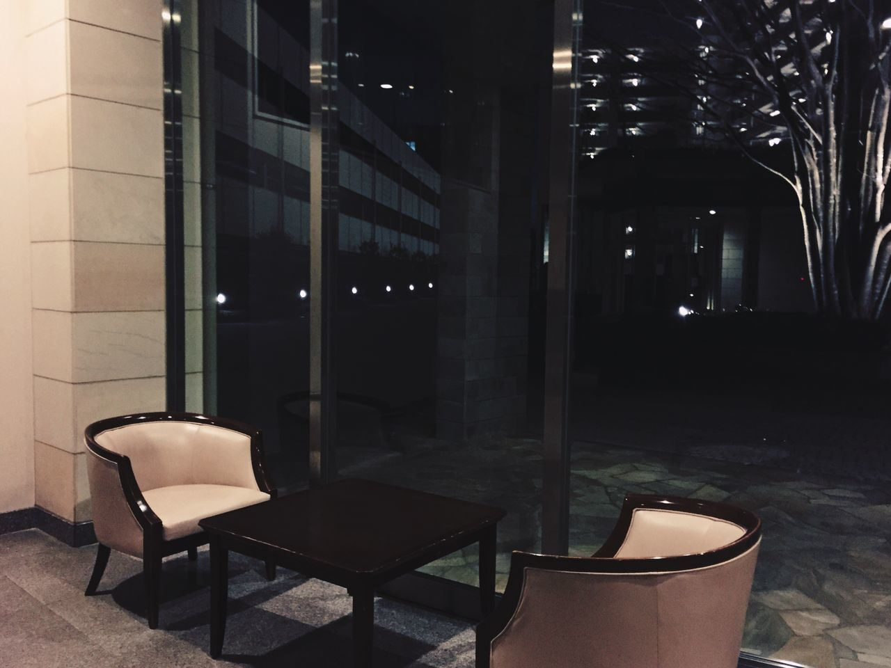 chair, night, illuminated, no people, empty, absence, architecture, built structure, building exterior, indoors