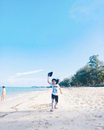 Child Full Length Childhood Beach Boys Headwear Sand Sport Sea Standing