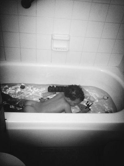 How my son takes a bath smh lol