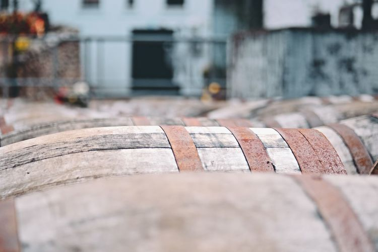 Whisky casks Whisky Scotland Crieff The Famous Grouse Glenturret Distillery Perthshire Building Exterior Barrels Casks Whisky Cask Whisky Barrels Close-up Barrel Day No People Wood