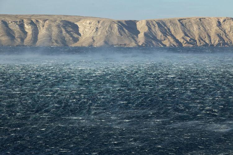 Scenic view the adriatic sea during bora wind