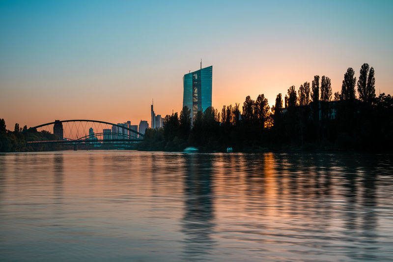 Riverside sunset in frankfurt, germany