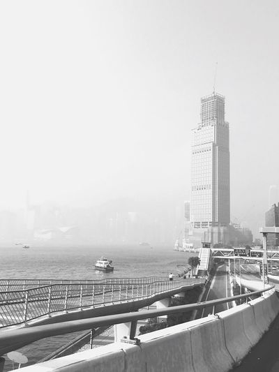 Building Exterior Architecture Light And Shadow Smoggy Victoria Harbour Tsim Sha Tsui Black And White Black & White IPhoneography