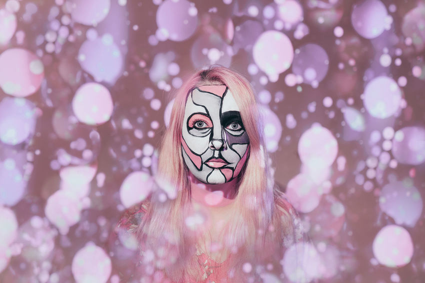 Video projector. Pattern Looking At Camera Face Paint Face Painting Face Painted One Person One Woman Only Woman Pink Human Eye Human Face Disguise Pink Color Eye Human Representation Anthropomorphic Face Mask - Disguise Paint Camouflage Painted Female Likeness