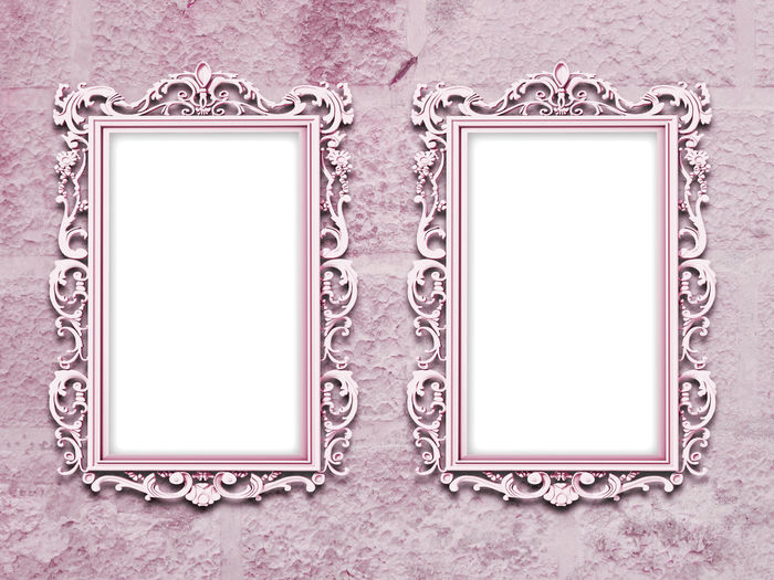 Two lilac baroque frames on grungy concrete wall background A4 Format Dimension Art And Craft Art Gallery Art Nouveau Frame Close Up Close-up Creativity Geometry Grunge Grungy Concrete Wall Horizontal Symmetry Indoors  Liberty Frame Lilac Metal Mirror Frame Old-fashioned Ornate Pink Pink Baroque Frame Rococo Rough Scratched And Cracked Wall Stained Symmetry
