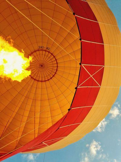 hot air balloon Fire Yellow Adventure Marrakesh Morocco Hot Air Balloon Blue Sky Close-up Cloud - Sky Directly Below Parachute EyeEmNewHere