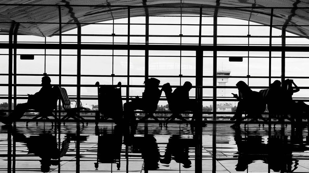 Airport Reflection Window Adults Only Indoors  Adult Men Day Sky People Blackandwhite My Year My View EyeEmNewHere