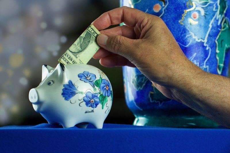 Cropped hand inserting paper currency in piggy bank