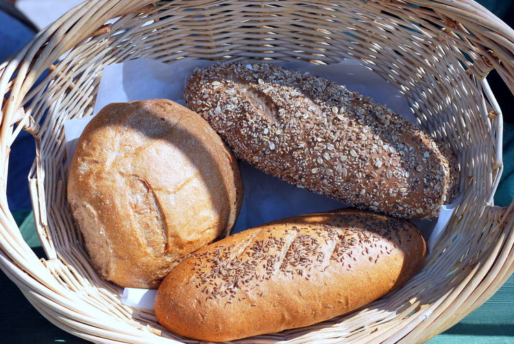High angle view of bread in basket