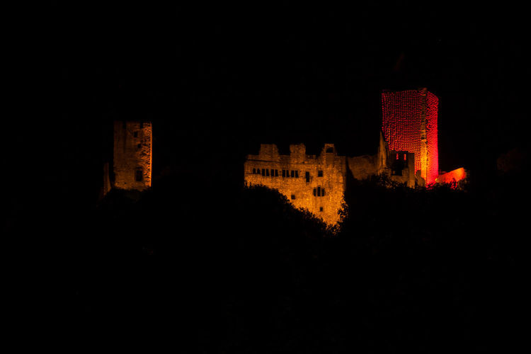 Red Balloon Rötteln Architecture Art Building Building Exterior Built Structure Castle Ruin Dark History Illuminated Installation Art Knight  Night Old The Past Tower