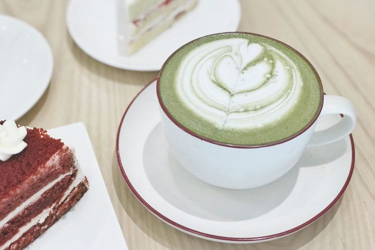 Food And Drink Coffee Cup Plate Table Saucer Coffee - Drink Still Life Indoors  Food Freshness Dessert Sweet Food Serving Size No People High Angle View Cake Frothy Drink Indulgence Refreshment Close-up