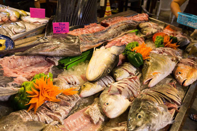 Seafood restaurant Lipe Lipe Island Seafood Animal Choice Close-up Fish Fish Market Food Food And Drink For Sale Freshness Healthy Eating High Angle View Market No People Price Tag Raw Food Restaurant Retail  Retail Display Seafood Seafood Grill Still Life Thai Food