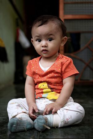 High Contrast ... Bandung Shooter Indonesian Shooter The Portraitist - 2018 EyeEm Awards Baby Babyhood Casual Clothing Child Childhood Cute Front View Full Length Innocence Lifestyles Looking At Camera One Person Portrait Real People Sitting Toddler  Young