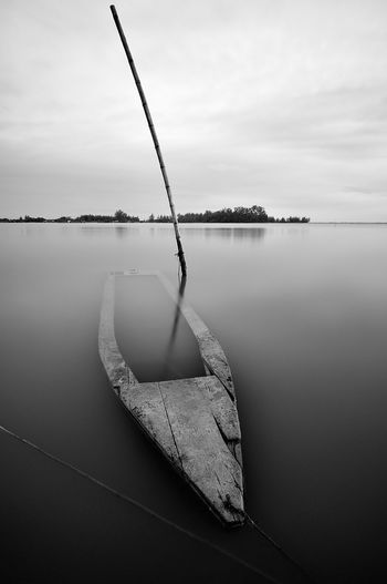 Old Boat Water Lake Tranquility Tranquil Scene Day Reflection No People Nature Nautical Vessel Beauty In Nature Scenics - Nature Sky Fishing Transportation Rope Sailboat Cloud - Sky Outdoors Wood Boat Black And White Photography Sea Life Tumpat Malaysia Landscape Photography Backgrounds