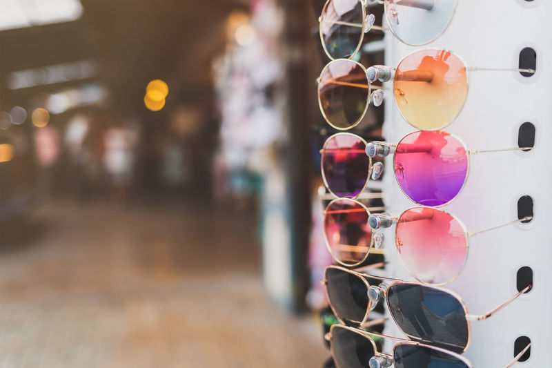 Close-up of sunglasses on glass