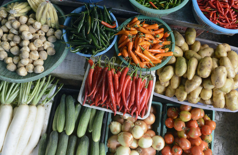 High angle view of various vegetables for sale at market
