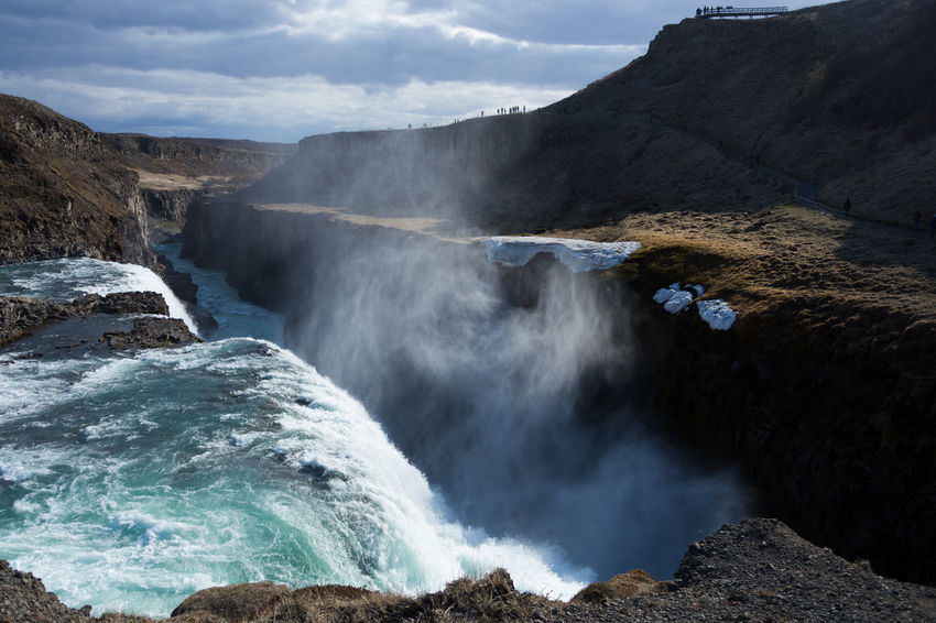 Gullfoss Waterfall Iceland Canyon Iceland Nature Non-urban Scene River Rough Water Gullfoss Beauty In Nature Mist Haze Rocks Sunny Current Backlight Day Water Landscape Landscape_Collection Waterfall Beauty In Nature Scenics - Nature Motion Power Power In Nature Flowing Water Environment Travel Destinations Outdoors