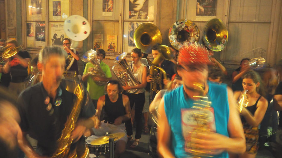 Blurred Motion Cool Enjoyment Fete De La Musique Fun Holidays In France Jazz Jazz Musicians Large Group Of People Motion Night Saxophonist Street Musicians Swing Weeekend Breaks