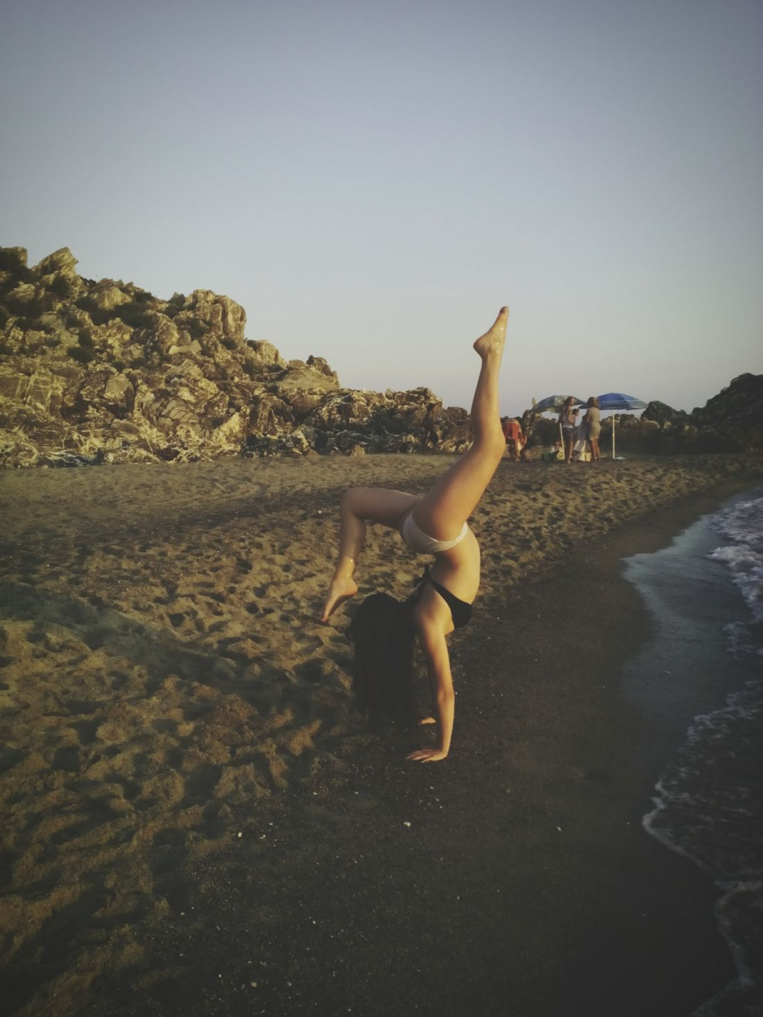 Beach Sun Gymnastics Handstand  Sea Self Portrait Around The World Hollydays Me Sunset Italy