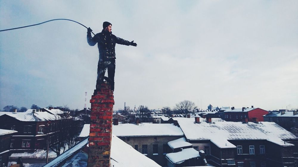 Over the roofs. ChimneySweep Chimney Sky Roofs Lucky Job Nofear First Eyeem Photo