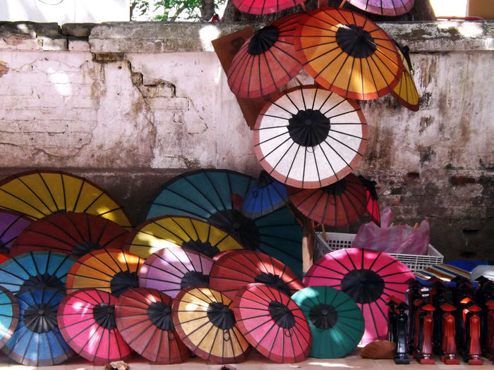 Close-up Colorful Decoration Design Multi Colored No People Tourism Laos Travel Photography Luang Prabang Luang Prabang, Laos Umbrellas Artisanat