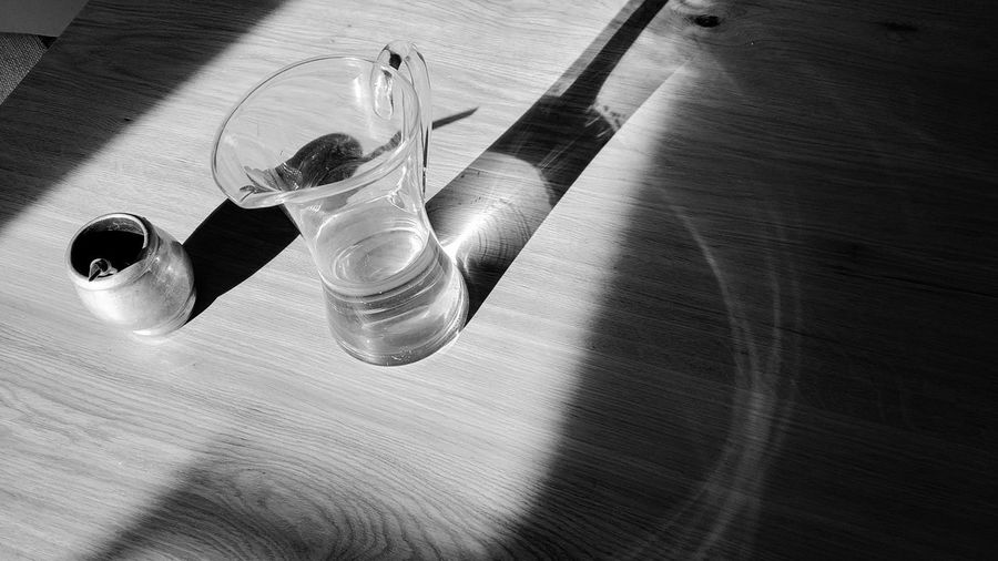 High angle view of drink on table